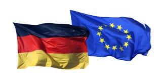 Geïsoleerde vlaggen van Duitsland en de EU, Stock Afbeeldingen