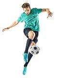 Geïsoleerde voetballermens stock afbeeldingen