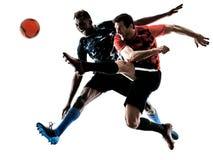 Geïsoleerde voetballers de mensen silhouetteren witte achtergrond stock fotografie