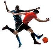 Geïsoleerde voetballers de mensen silhouetteren witte achtergrond stock foto