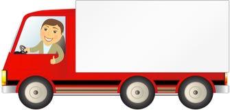 Geïsoleerde vrachtwagen met de mens met ruimte voor tekst Stock Afbeeldingen
