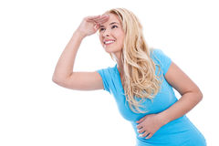 Geïsoleerde vrouw die aan toekomst kijken stock foto