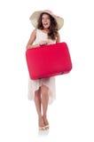 Geïsoleerde vrouw met bagage Stock Afbeelding