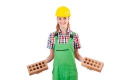 Geïsoleerde vrouw met bakstenen Stock Foto