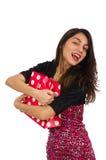 Geïsoleerde vrouw met het winkelen zakken Stock Foto's
