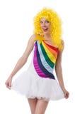 Geïsoleerde vrouw met kleurrijke pruik Royalty-vrije Stock Afbeeldingen