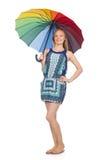 Geïsoleerde vrouw met paraplu Royalty-vrije Stock Afbeelding