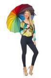 Geïsoleerde vrouw met paraplu Royalty-vrije Stock Foto
