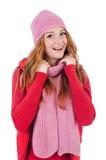 Geïsoleerde vrouw in warme kleding Stock Foto