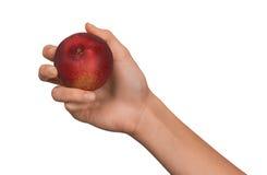 Geïsoleerde vrouwen vrouwelijke hand die een fruit rode Perzik op een witte achtergrond houden Royalty-vrije Stock Afbeeldingen
