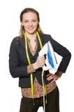 Geïsoleerde vrouwenkleermaker Stock Foto's