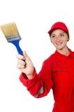 Geïsoleerde vrouwenschilder in rode overtrekken royalty-vrije stock foto