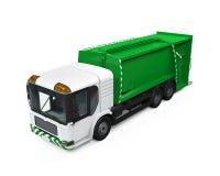 Geïsoleerde vuilnisauto Stock Foto