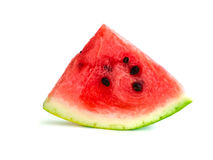 Geïsoleerde watermeloenplak, knipselkwart Stock Afbeelding