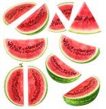 Geïsoleerde Watermeloenstukken royalty-vrije stock fotografie