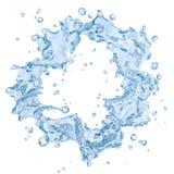 Geïsoleerde waterplons met waterdruppeltjes Knippend inbegrepen weg 3D Illustratie Stock Afbeelding