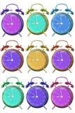 Geïsoleerde wekker met Mooie kleuren op een witte achtergrond met het knippen van weg stock afbeeldingen
