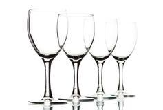 Geïsoleerde wijnglazen op wit Stock Foto