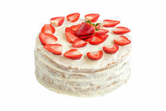 Geïsoleerde witte die aardbeicake met eierenwit en gelatine wordt behandeld Royalty-vrije Stock Fotografie