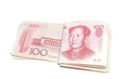 100 geïsoleerde yuanszakportefeuilles Stock Afbeeldingen