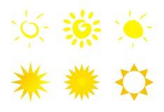 Geïsoleerde zonpictogram - embleem of klemart. Royalty-vrije Stock Afbeelding