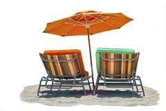 Geïsoleerde zonzitkamers met parasol Stock Foto's