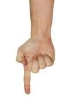 Geïsoleerde0 hand die neer richt Stock Foto's