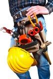 Geïsoleerdea Close-up van arbeider met hulpmiddelen stock fotografie