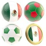 Geïsoleerdea de attributen van het de voetbalteam van Mexico vector illustratie
