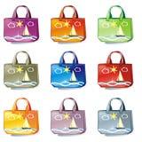 Geïsoleerdea gekleurde geplaatste zakken Royalty-vrije Stock Foto