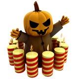 Geïsoleerdea heks met kaarsen in cirkel Royalty-vrije Stock Fotografie