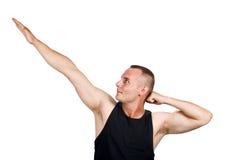 Geïsoleerdea jonge atleet, gymnastiek opleiding Royalty-vrije Stock Afbeelding