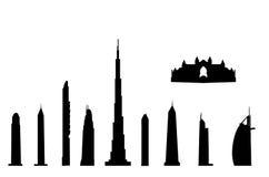 Geïsoleerdeb de oriëntatiepunten van Doubai vector illustratie