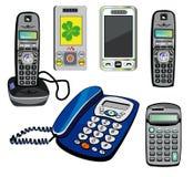 Geïsoleerdec telefoons en calculator Royalty-vrije Stock Foto's