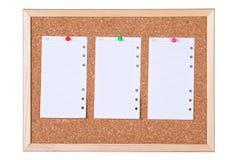 Geïsoleerded Corkboard met de Lege Nota's van het Document Stock Afbeelding