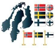 Geïsoleerded kaarten van Noorwegen, Zweden en Finland Stock Foto