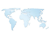 Geïsoleerdee 3d wereldkaart Stock Foto's