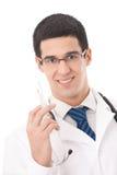 Geïsoleerdee arts met spuit, stock afbeelding