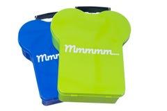 GeïsoleerdeE Blauwe en Groene Lunchbox Stock Afbeelding