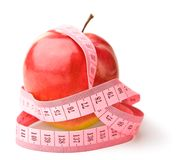 Geïsoleerdee de band van de appel en van mesure stock foto's