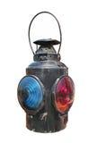 Geïsoleerdee de lantaarn van het de spoorwegsignaal van de kerosine Royalty-vrije Stock Afbeelding
