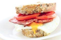 Geïsoleerdee de sandwich van het ei en van het bacon Stock Afbeelding