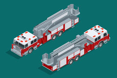 Geïsoleerdee de vrachtwagen van de brand Brandafschaffing en slachtofferhulp Vlakke 3d isometrische hoogte - het vervoerpictogram Stock Foto