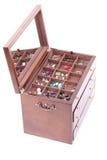 Geïsoleerdee doos donkere houten royalty-vrije stock foto's