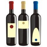 Geïsoleerdee geplaatste wijnflessen Stock Afbeelding