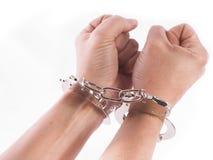 Geïsoleerdee handcuffs Royalty-vrije Stock Foto's