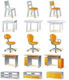 Geïsoleerdee het meubilair van het huis - stoelen, lijsten Stock Foto's