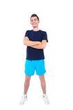Geïsoleerdee mens in sportslijtage stock foto's