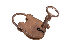 Hangslot en sleutel (met het knippen van weg) Royalty-vrije Stock Afbeeldingen