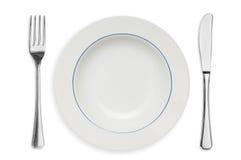 Geïsoleerdee plaat en tafelzilver stock afbeeldingen